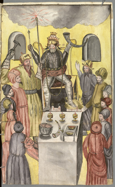 Akvarell över de nordiska gudarna tecknade i gula och röda färger. Oden har full rustning på sig och sitter med krona på huvudet och bägare i handen.