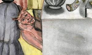detalj från målningen med en röd djävul som tittar fram under ett bord