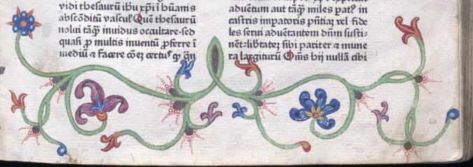 detalj från nedre delen av sidan, målade växtrankor med blommor i rött och blått