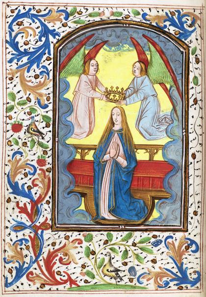 helsidesbild av maria som kröns av två flygande änglar