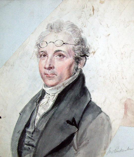 målat porträtt av pinkerton med glasögon uppe i pannan