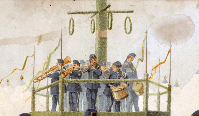 detalj från akvarellen med en militärorkester som spelar runt en midsommarstång