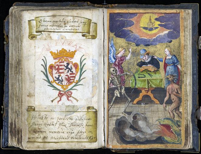 ett uppslag ur stamboken med en vapensköld och en målning av en läsande man omringad av ängel och djävul