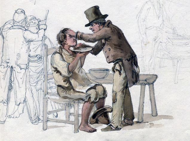 en sittande man rakas av en stående man i hatt