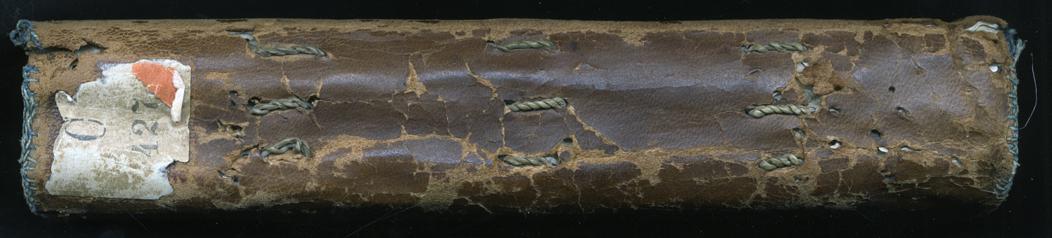 bokens rygg där det syns att dess lägg sytts in med grova stygn