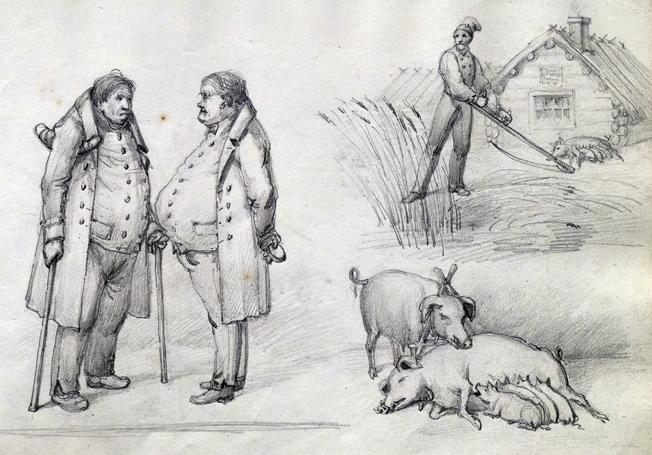 på samma blad finns tecknat två samtalande herrar med stora magar, en gris med kultingar och en bonde som slår hö framför en stuga