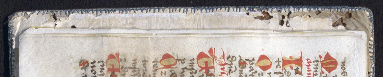 detalj från insidan, där man ser den gröna sydda kanten överst på fodringen av papper på insidan av bandet
