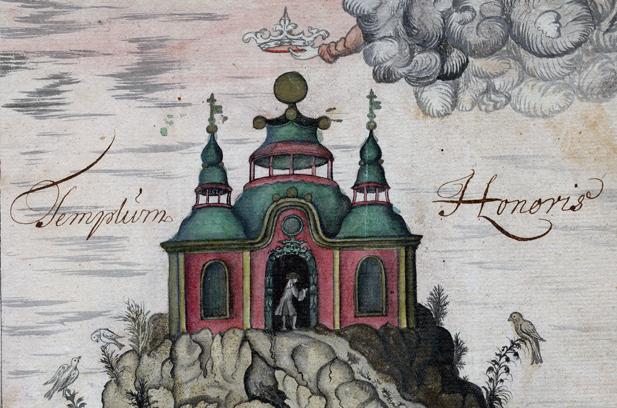 detalj med ärans tempel, en röd byggnad med grönt tak på toppen av ett berg