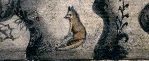 detalj med en liten räv från akvarellen