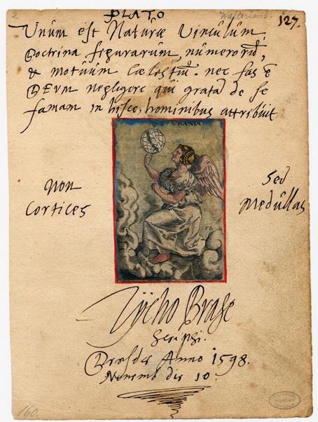 vacker sida med teckning i mitten och autografen under