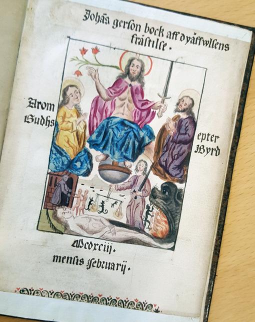 kristus över en scen från helvetet med små jävlar
