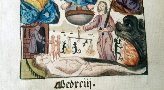 detalj från det tecknade titelbladet med små djävlar som väger en människas själ
