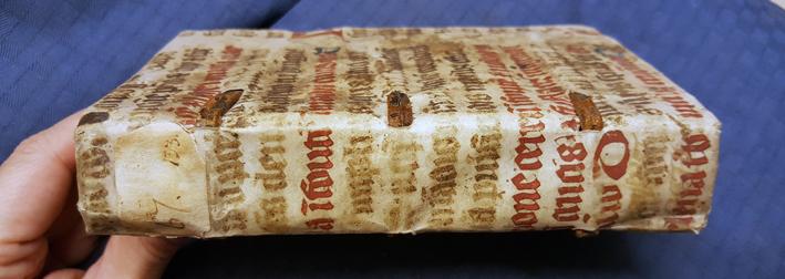 bild på bokryggen med präntad text i rött och brunt på pergament