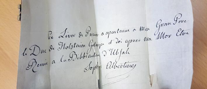 en lapp i boken på franska från Sofia Albertina