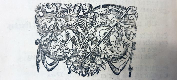 skelett med lie i träsnitt