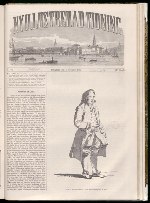 helsida ur tidningen Ny illustrerad tidnign med bild på Carl von Linné rökande pipa