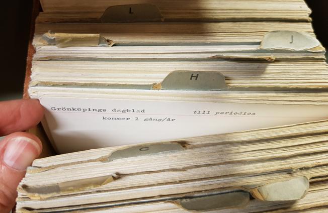 kort i kartoteket står: Grönsköpings dagblad utkommer 1 nr/år till periodica