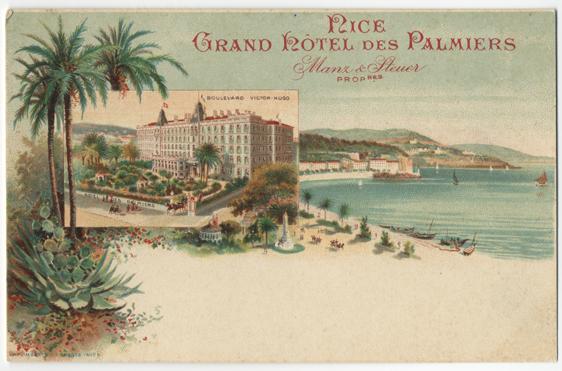 ett vykortföreställande grand hotel i nice vid blått vatten och med palmer bredvid