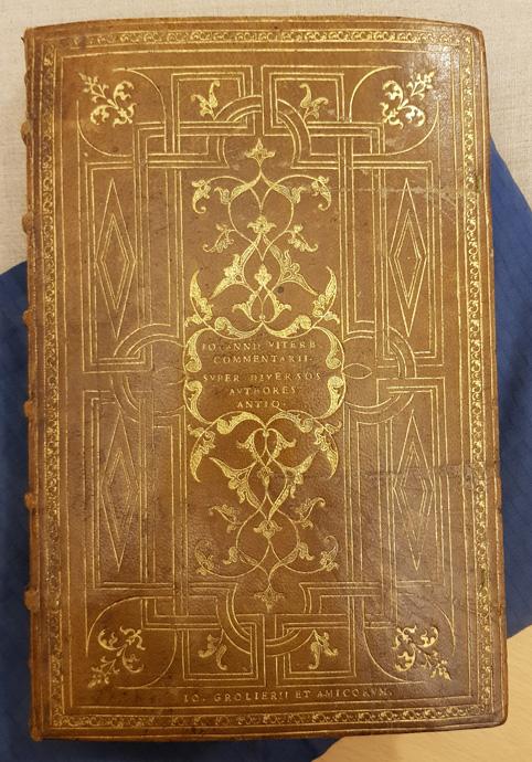 ett brunt skinnband med geometrisk dekor i guldtryck