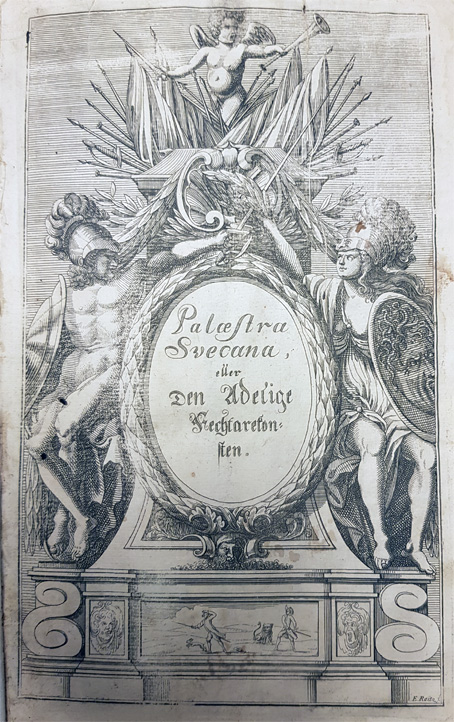 det graverade titelbladet där bokens titel står i en krans mellan två antika figurer med hjälmar och vapen
