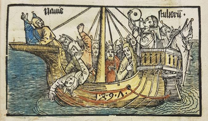 fägglatt träsnitt med ett skepp på havet fullt med narrar i narrmössor med åsneöron på