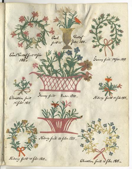 en hel karta med nio klipp i form av blommor, blomsterkransar och blomkorgar