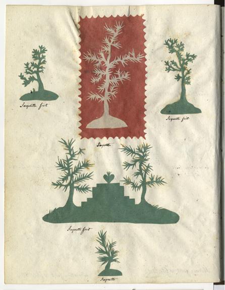 sida med fem klipp i form av träd, fyra gröna och en vit mot röd botten