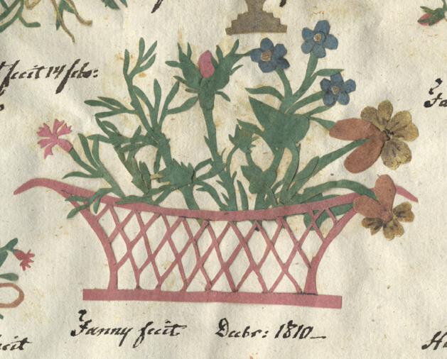en röd korg med blommor i blått, rött och gult i silhettklippning
