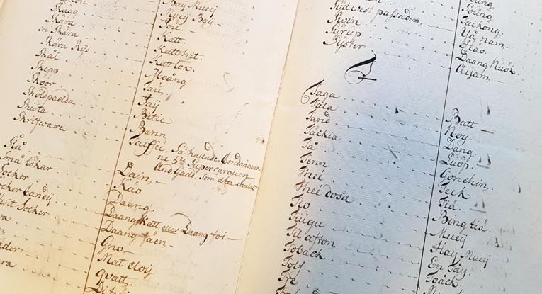 ett uppslag med handskriven ordlista
