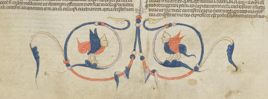 Två bevingade väsen med fågelfötter och ansikten som människor eller apor