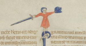 en person med ett stort svärd i handen och en sköld i form av ett fantasidjur står på ett avhugget huvud i en marginal