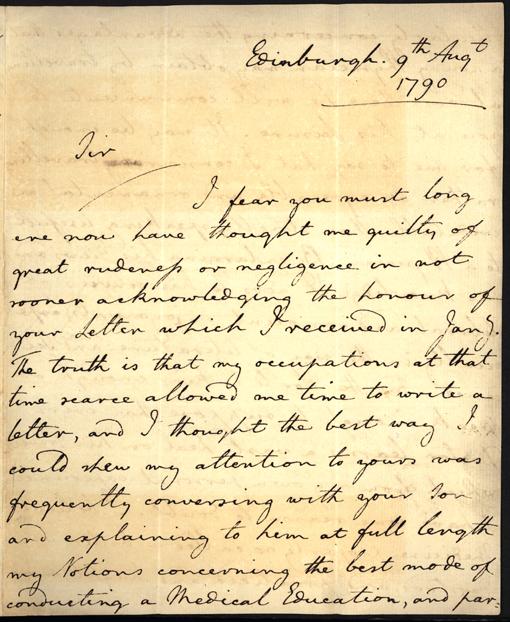 första bladet av brevet