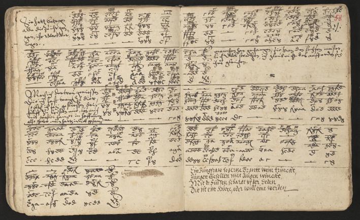 uppsalg ur handskriften med tabulatur och lite text på tyska
