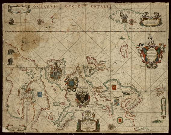 en karta över europa med alla kuststäder utsatta, europa syns med det som brukar vara öster i nederkanst och väster i överkant