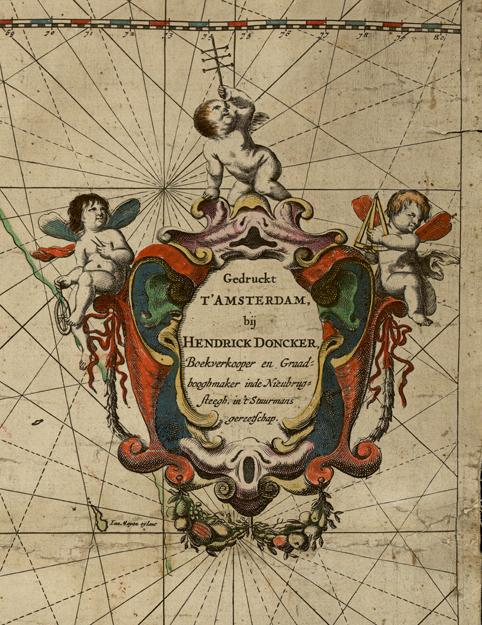 detalj på en av kartans kartoucher, dvs etiketter, med utgivarensnamn