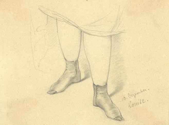 blyertstecknade ben under kjolkant, på fötterna tunna läderskor