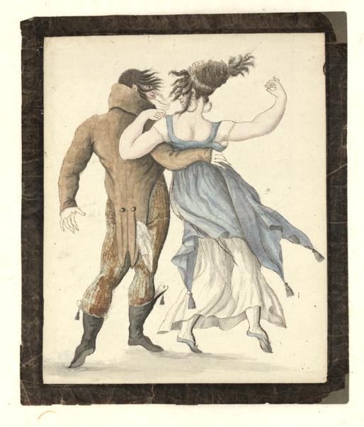 ett par bakifrån, mannen med armen om damnes midja, han i knäbyxor och lång rock, hon i blå klänning