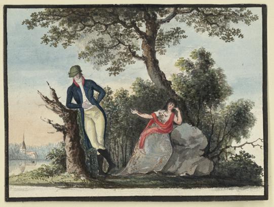 en man i knäbyxor och blå rock lutar sig mot en stubbe, en dam i grå klänning sitter vilande mot en sten, i bakgrunden grönska och träd