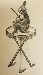 en tryckt illustartion på en apa med hatt och fiol sittande på ett bord