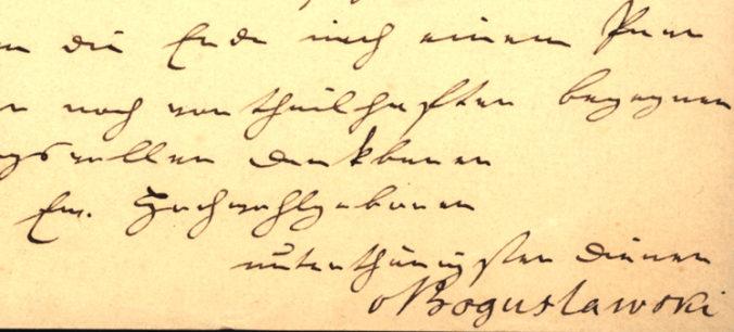 detalj med autograf från brevet