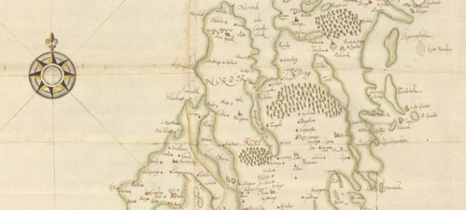 detalj av gottlandskarta med kompassros utanför kusten