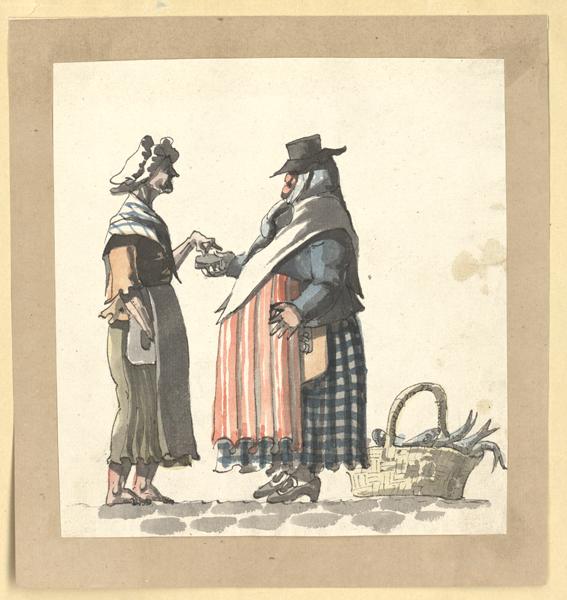 en stor dam i hatt och rutig kjol bjuder en smal dam med vit hätta på huvudet och grå kjol på snus