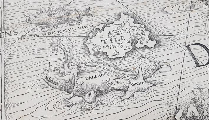 detalj från kartan med ett ocjur som ser utsom en blandning mellan val och krokodil, med två horn ur vilka det sprutar vatten på huvudet, två mindre sjöodjur ligger vid dess mage och över odjuret syns en ö med namnet Tile skrivet ovanpå
