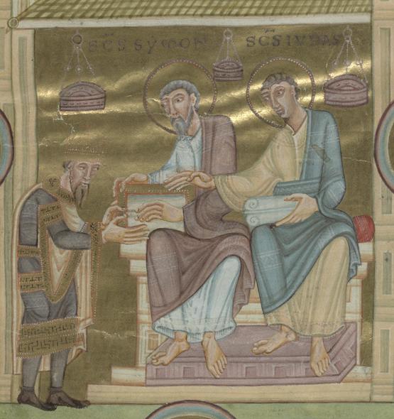 två män med guldglorior sitter på en tron på ett podium, vid deras fötter står ytterligare en man, de ör alla klädda i romerska togir och bakgrunden består helt av bladguld, vilket gör att hela bilden lyser
