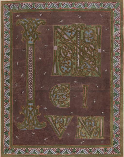 ett blad mönstrat i purpurrött och guld med snirkliga bokstäver och dekorativa mönster