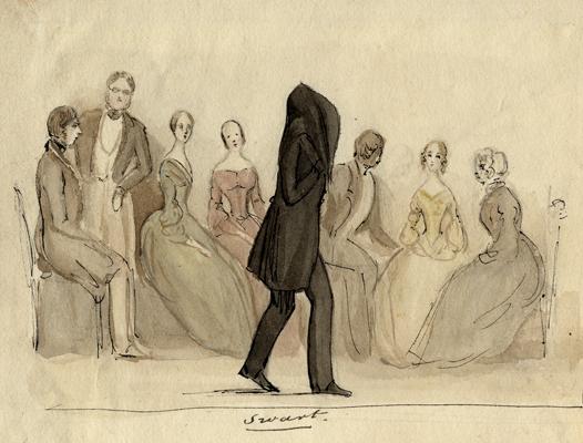 en man har ett svart lakan över sig, kring honom finsn ett sällskap med herrar och damer, under honom står ordet svart