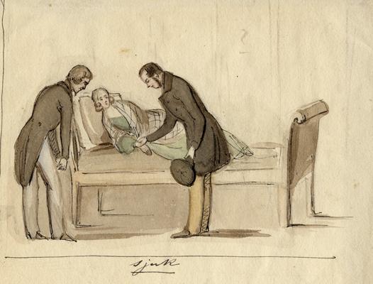 en kvinna ligger på en divan och blir ompysslad av två herrar