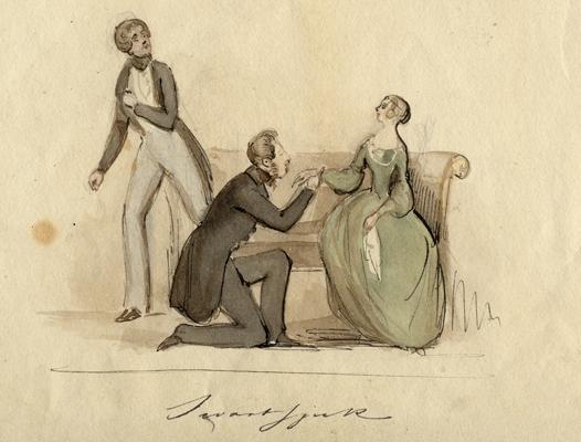 en kvinna blir uppvaktad av en knästående man, medan en annan man kastar blickar på dem