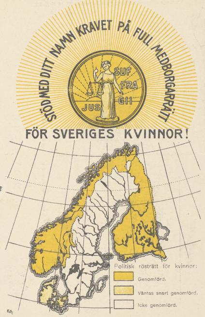 Landsorganisationens logotyp över en bild över Norden, dör det framgår att endast Sverige saknar kvinnlig rösträtt