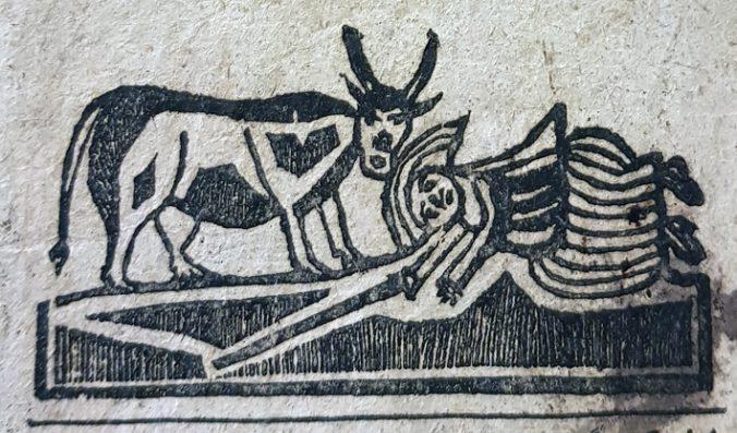 träsnitt med en kvinna som fallit framför en ko med långa horn, bilden är mycket naivt utformad i svart och vitt
